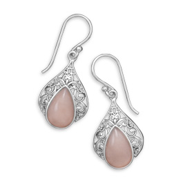 Design 21975: pink pink opal drop earrings