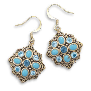 Design 21976: blue multi-stone drop earrings