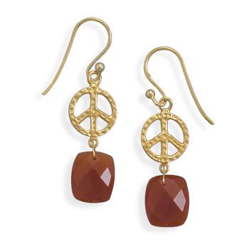 Design 21982: orange carnelian drop earrings