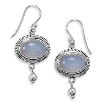 Design 21983: gray chalcedony drop earrings