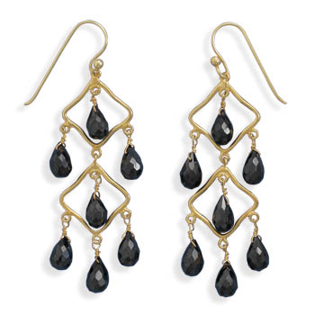 Design 21987: black black spinel chandelier earrings