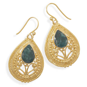 Design 21988: green emerald drop earrings