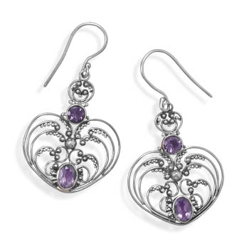 Design 21990: purple amethyst drop earrings