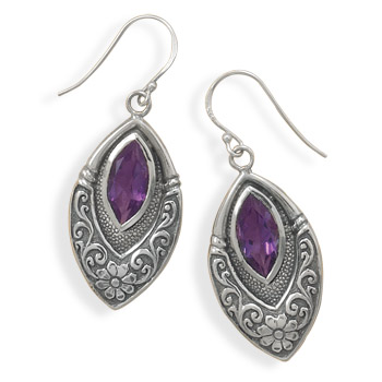 Design 21994: purple amethyst drop earrings