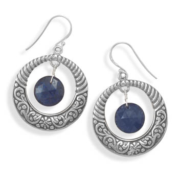 Design 21995: blue sapphire drop earrings