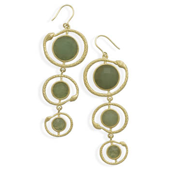 Design 22010: green aventurine drop earrings