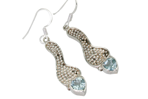 Design 9322: blue blue topaz heart earrings