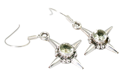 Design 9324: green green amethyst star earrings
