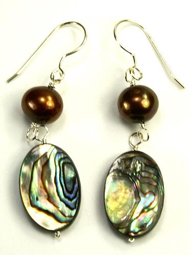 Design 9492: brown,multi-color pearl earrings