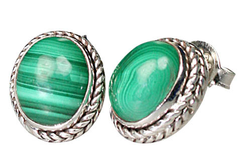 Design 9498: green malachite post earrings