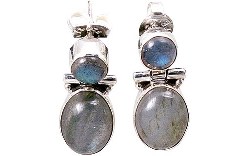 Design 9635: blue,green labradorite post earrings