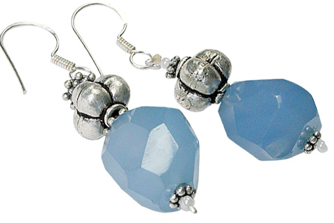 Design 9703: Blue chalcedony earrings