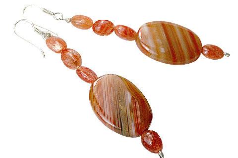 Design 9720: orange sunstone earrings