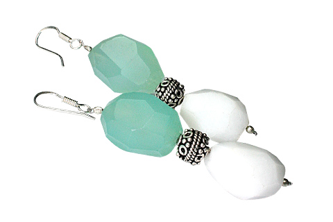 Design 9724: White,multi,green chalcedony earrings