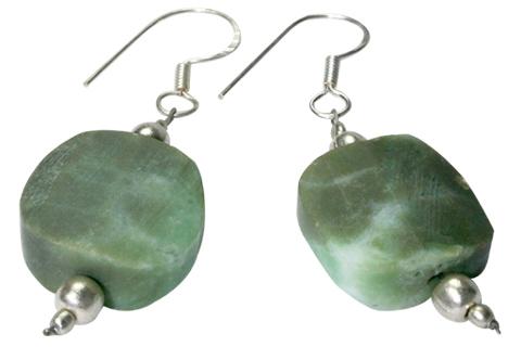 Design 9751: Green chrysoprase ethnic earrings