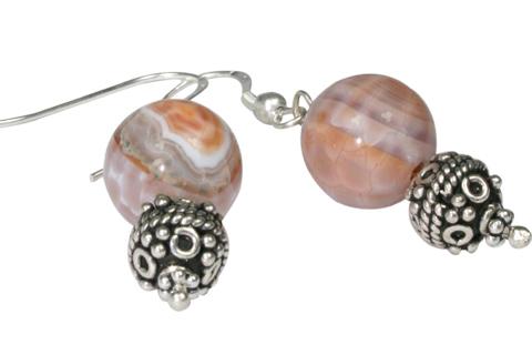 Design 9762: White, Peach agate american-southwest earrings