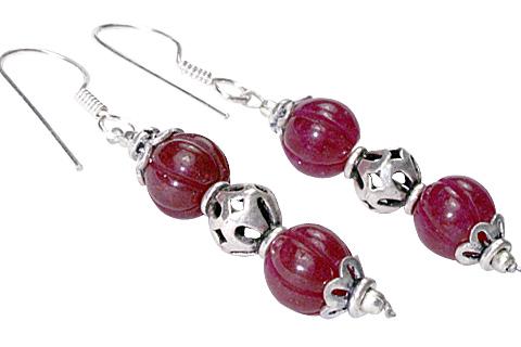 Design 9772: Pink quartz ethnic earrings