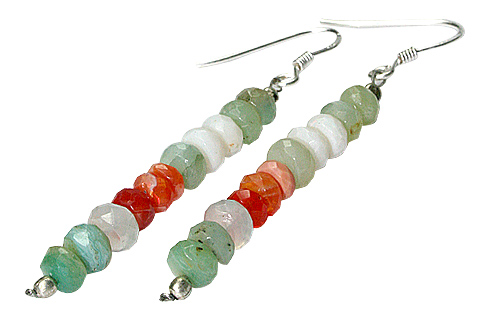 Design 9782: green,orange,white opal earrings