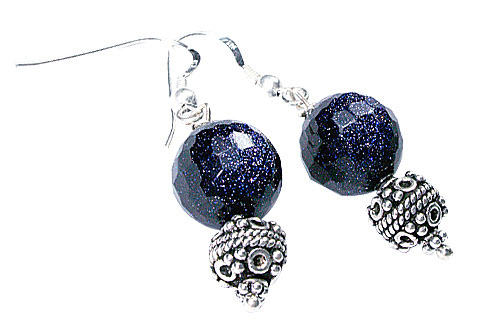 Design 9783: Blue goldstone earrings