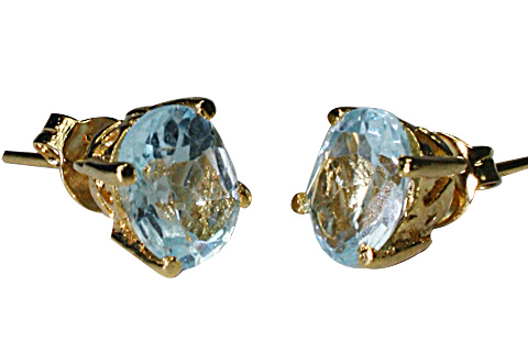Design 9916: blue blue topaz post earrings