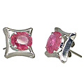 Design 10520: pink ruby art-deco, post earrings