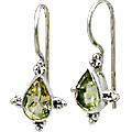 Design 10763: green lemon quartz drop earrings