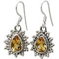 Design 10776: yellow citrine drop earrings