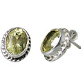 Design 10794: green lemon quartz post earrings