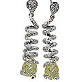 Design 11549: Green, White lemon quartz earrings
