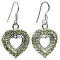 Design 12397: green peridot heart earrings