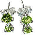 Design 12824: green peridot engagement, post earrings