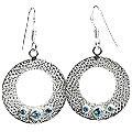 Design 13115: blue blue topaz ethnic, hoop earrings