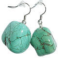 Design 15135: blue,green turquoise tumbled earrings