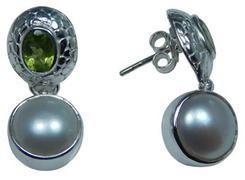 Design 20240: White, Green pearl earrings