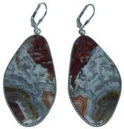 Design 20303: Red, Brown, white crazy lace agate earrings
