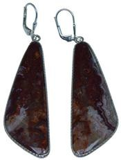 Design 20304: Red, Brown, white crazy lace agate earrings