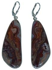 Design 20305: Red, Brown, white crazy lace agate earrings