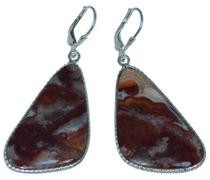 Design 20309: Red, Brown, white crazy lace agate earrings