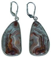 Design 20310: Red, Brown, white crazy lace agate earrings