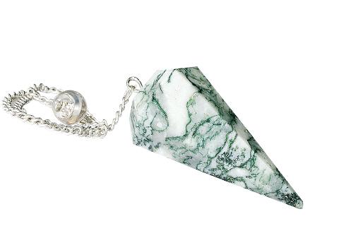 Design 9617: green,white agate pendulum healing