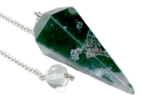 Design 9622: green moss agate pendulum healing
