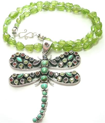 Design 10065: green multi-stone pendant necklaces