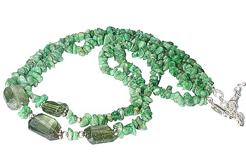 Design 10345: green jasper chipped necklaces