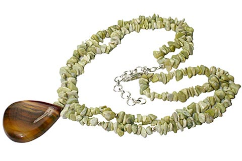 Design 10346: brown,green jasper chipped necklaces