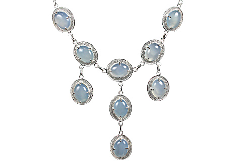 Design 10374: blue chalcedony necklaces