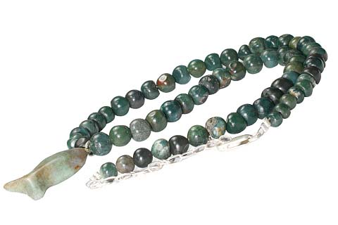 Design 10561: green bloodstone christian, ethnic, religious necklaces