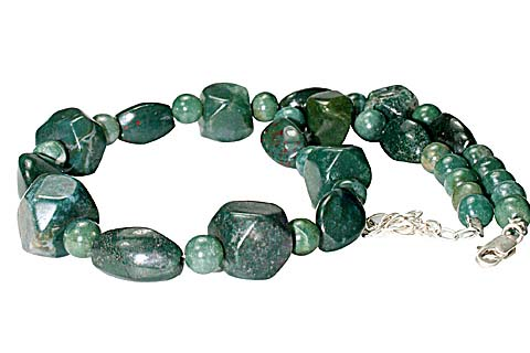 Design 10572: green,red bloodstone chunky necklaces