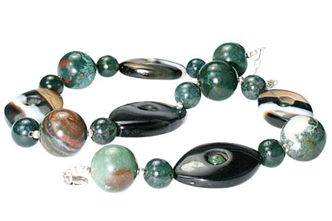 Design 10575: black,green bloodstone choker necklaces