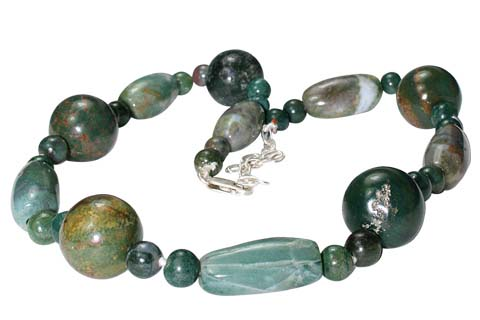 Design 10577: green bloodstone chunky necklaces