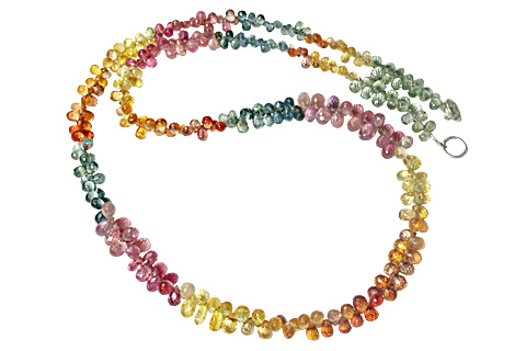 Design 10670: multi-color sapphire briolettes necklaces